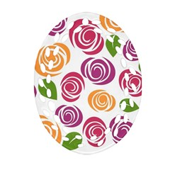 Colorful Seamless Floral Flowers Pattern Wallpaper Background Oval Filigree Ornament (Two Sides)