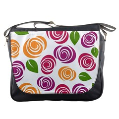 Colorful Seamless Floral Flowers Pattern Wallpaper Background Messenger Bags