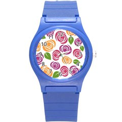 Colorful Seamless Floral Flowers Pattern Wallpaper Background Round Plastic Sport Watch (s)