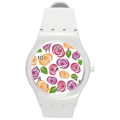 Colorful Seamless Floral Flowers Pattern Wallpaper Background Round Plastic Sport Watch (m)