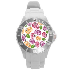 Colorful Seamless Floral Flowers Pattern Wallpaper Background Round Plastic Sport Watch (l)