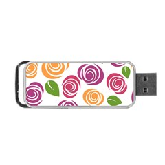 Colorful Seamless Floral Flowers Pattern Wallpaper Background Portable Usb Flash (two Sides)