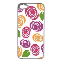 Colorful Seamless Floral Flowers Pattern Wallpaper Background Apple Iphone 5 Case (silver)