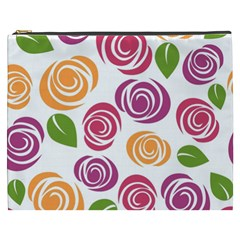 Colorful Seamless Floral Flowers Pattern Wallpaper Background Cosmetic Bag (xxxl)