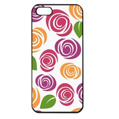 Colorful Seamless Floral Flowers Pattern Wallpaper Background Apple Iphone 5 Seamless Case (black)