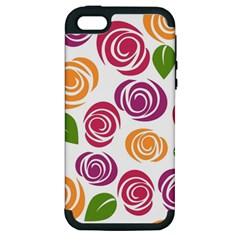 Colorful Seamless Floral Flowers Pattern Wallpaper Background Apple Iphone 5 Hardshell Case (pc+silicone)