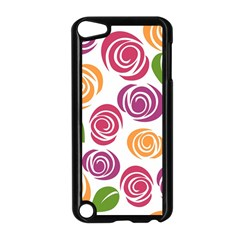 Colorful Seamless Floral Flowers Pattern Wallpaper Background Apple Ipod Touch 5 Case (black)