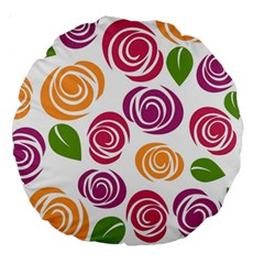 Colorful Seamless Floral Flowers Pattern Wallpaper Background Large 18  Premium Round Cushions