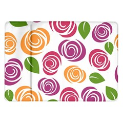 Colorful Seamless Floral Flowers Pattern Wallpaper Background Samsung Galaxy Tab 10.1  P7500 Flip Case