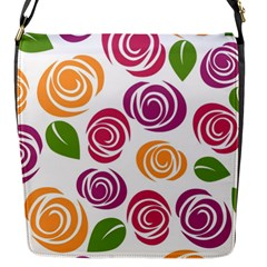 Colorful Seamless Floral Flowers Pattern Wallpaper Background Flap Messenger Bag (S)