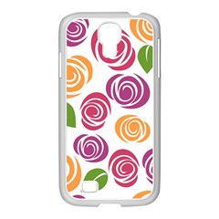 Colorful Seamless Floral Flowers Pattern Wallpaper Background Samsung Galaxy S4 I9500/ I9505 Case (white)