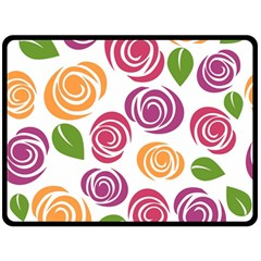 Colorful Seamless Floral Flowers Pattern Wallpaper Background Double Sided Fleece Blanket (large)