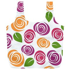 Colorful Seamless Floral Flowers Pattern Wallpaper Background Full Print Recycle Bags (L)