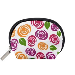 Colorful Seamless Floral Flowers Pattern Wallpaper Background Accessory Pouches (small)