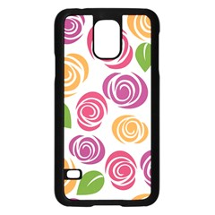 Colorful Seamless Floral Flowers Pattern Wallpaper Background Samsung Galaxy S5 Case (black)