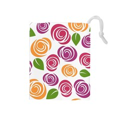 Colorful Seamless Floral Flowers Pattern Wallpaper Background Drawstring Pouches (medium)