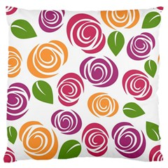 Colorful Seamless Floral Flowers Pattern Wallpaper Background Large Flano Cushion Case (one Side)