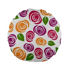 Colorful Seamless Floral Flowers Pattern Wallpaper Background Standard 15  Premium Flano Round Cushions