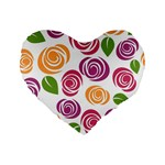 Colorful Seamless Floral Flowers Pattern Wallpaper Background Standard 16  Premium Flano Heart Shape Cushions Front
