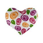 Colorful Seamless Floral Flowers Pattern Wallpaper Background Standard 16  Premium Flano Heart Shape Cushions Back