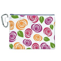 Colorful Seamless Floral Flowers Pattern Wallpaper Background Canvas Cosmetic Bag (xl)