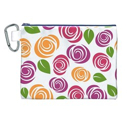 Colorful Seamless Floral Flowers Pattern Wallpaper Background Canvas Cosmetic Bag (xxl)