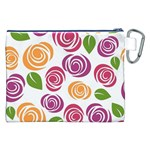 Colorful Seamless Floral Flowers Pattern Wallpaper Background Canvas Cosmetic Bag (XXL) Back