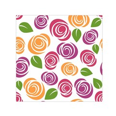 Colorful Seamless Floral Flowers Pattern Wallpaper Background Small Satin Scarf (square)