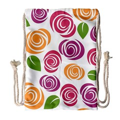 Colorful Seamless Floral Flowers Pattern Wallpaper Background Drawstring Bag (large)