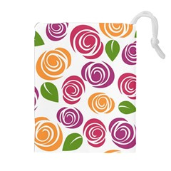 Colorful Seamless Floral Flowers Pattern Wallpaper Background Drawstring Pouches (extra Large)
