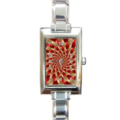Fractal Red Petal Spiral Rectangle Italian Charm Watch
