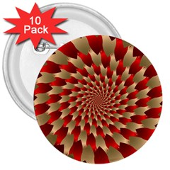 Fractal Red Petal Spiral 3  Buttons (10 Pack)