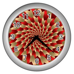 Fractal Red Petal Spiral Wall Clocks (Silver)