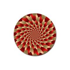Fractal Red Petal Spiral Magnet 3  (round)