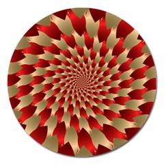 Fractal Red Petal Spiral Magnet 5  (Round)