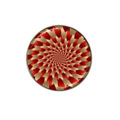 Fractal Red Petal Spiral Hat Clip Ball Marker