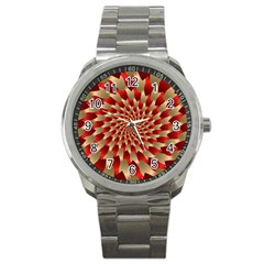 Fractal Red Petal Spiral Sport Metal Watch