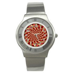 Fractal Red Petal Spiral Stainless Steel Watch