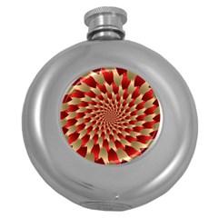 Fractal Red Petal Spiral Round Hip Flask (5 oz)