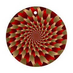 Fractal Red Petal Spiral Round Ornament (two Sides)