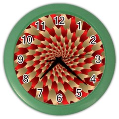 Fractal Red Petal Spiral Color Wall Clocks