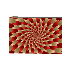 Fractal Red Petal Spiral Cosmetic Bag (large)