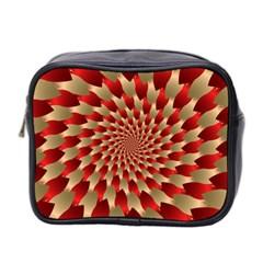 Fractal Red Petal Spiral Mini Toiletries Bag 2 Side