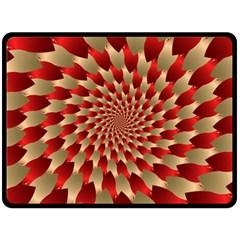 Fractal Red Petal Spiral Fleece Blanket (large)