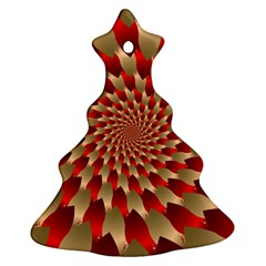 Fractal Red Petal Spiral Christmas Tree Ornament (Two Sides)