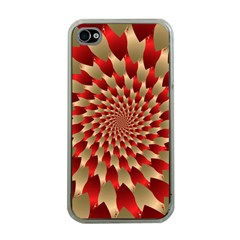 Fractal Red Petal Spiral Apple iPhone 4 Case (Clear)