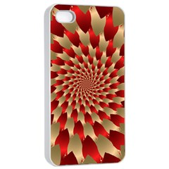 Fractal Red Petal Spiral Apple iPhone 4/4s Seamless Case (White)