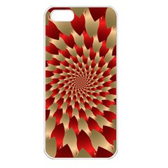 Fractal Red Petal Spiral Apple Iphone 5 Seamless Case (white)