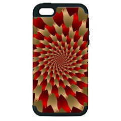 Fractal Red Petal Spiral Apple Iphone 5 Hardshell Case (pc+silicone)