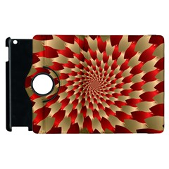 Fractal Red Petal Spiral Apple Ipad 3/4 Flip 360 Case